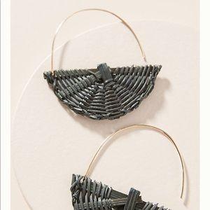 Anthropologie Tacy Wicker Crescent Earrings